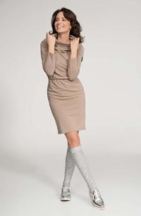 Cappuccino Loose Tourtleneck Knee Length Dress