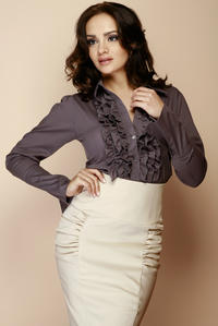 Gridelin Ruffled Blouse with Fanned Sleeves