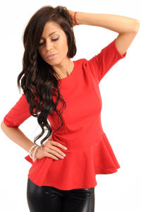 Crew Neck Seamed Frill Hem Red Top