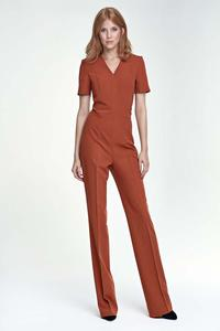Brick Red Elegant Short Sleeves Jumpsuit