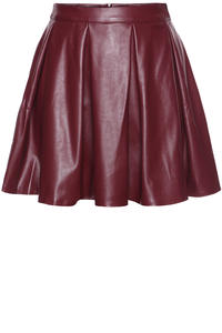 Red Leather Pleated Skirt with Back Seam Zip Fastening