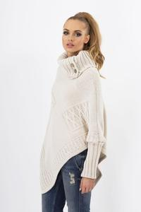 Beige Loose Asymetrical Tourtleneck Sweater