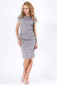 Grey Wrinkled Knee Lenght Short Sleeves Dress