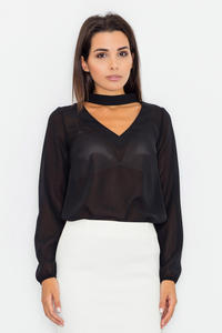 Black Elegant Blouse with Cut Out Neckline