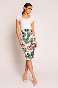 White Abstract Printed Midi Pencil Skirt with Back Zipper Fastening