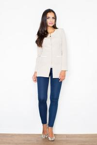 Beige Golden Zipper Stylish Long Blazer