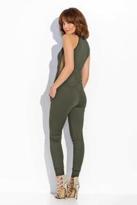 Khaki Bodycon Fit Ladies Jumpsuit with Transparencies