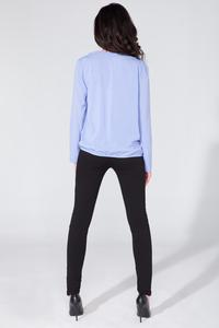 Light Blue Wrap Front Long Sleeves Blouse