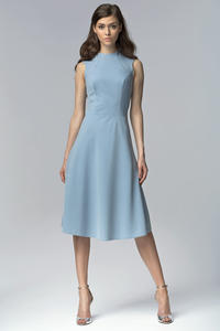 Blue Seam Midi Dress with High Neckline