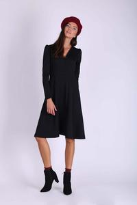 Black Flared Envelope Dress with Long Sleeves