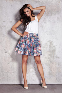 Wild Flower Pleated Mini Swing Skirt with Back Zip Fastening