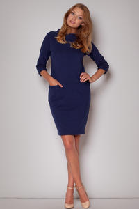 Flecked Seam Shift Navy Blue Dress with Side Welt Pockets