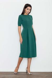 Green Elegant Short Sleeves Midi Dress