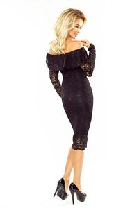 Black Bodycon Lace Dress with Spain Style Neckline