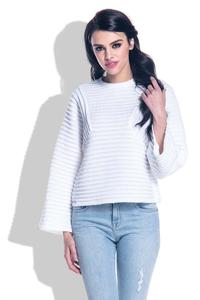 White Short Sweater with Wide Sleeves