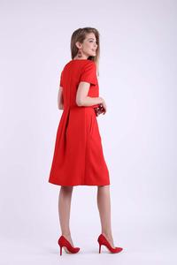 Red Formal Flared Dress with Overlay