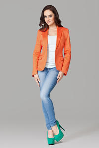 Petite Peak Collar Orange Blazer with Single Button Fastening