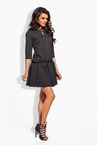 Dark Grey Elastic Waist 3/4 Sleeves Casual Dress
