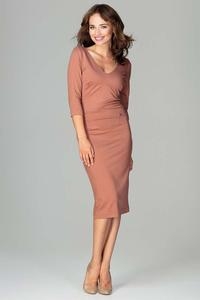 Brown Slim Fit V-Neck Midi Dress