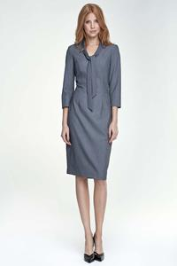Grey Elegant Etui Dress with Self Tie Bow