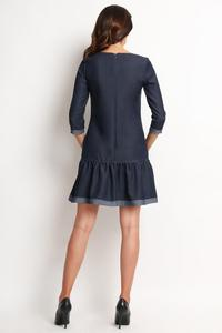 Blue Jeans Mini Dress With Frills