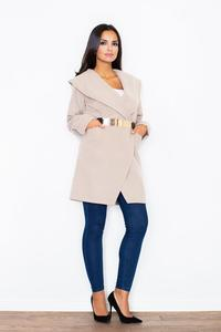 Beige Big Collar Short Coat with Gold Belt