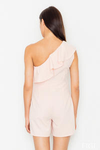 Pink Asymetrical Frilled Summer Jumpsuit