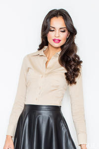 Collared Beige Shirt with Top Stitch Bust Seams