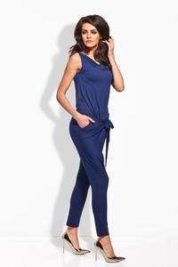 Dark Blue Tapered Legs Self Tie Bow Ladies Jumpsuit
