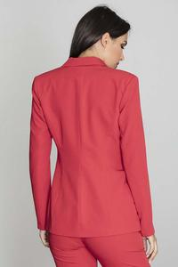 Elegant Red Jacket Stylish Waisted Cut