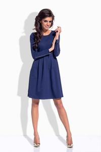 Dark Blue Round Neckline Flared Dress with Zipps