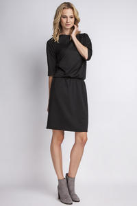 Black Casual 3/4 Sleeves Dress