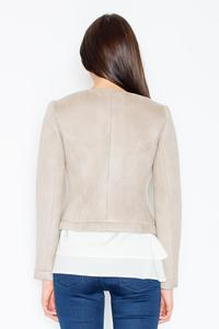 Beige Suede Imitation Short Ladies Blazer