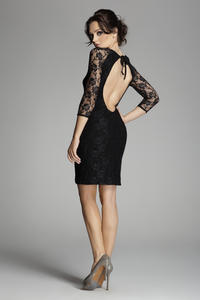 Black Backless Floral Lace Shift Dress
