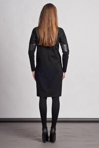 Black Casual Dress with Pockets and Eco-Leather Details