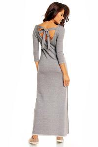 Light Grey Maxi Slit Dress with Pussy Bow Back