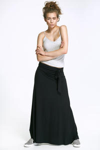 Black Maxi Long Skirt with Self Tie Sash