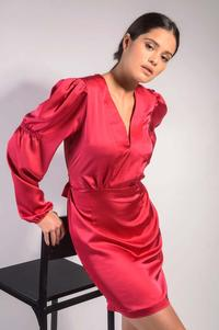 Deep Pink Satin Evening Dress