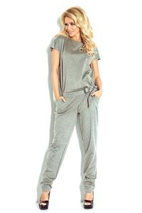 Grey Open Back Elegant Ladies Jumpsuit