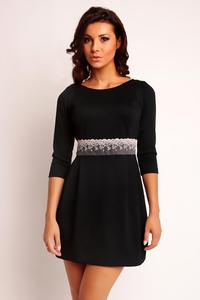 Black Mini 3/4 Sleeves Lace Waist Dress