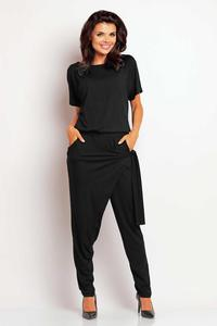 Black Stylish Self Tie Belt Baggy Pants Jumpsuit