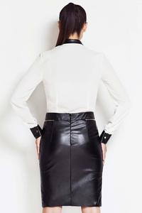 Black High Fashion Statement Biker Leather Faux Skirt