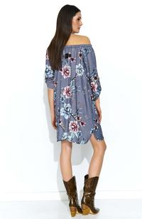 Gray airy patterned dress with a wide neckline
