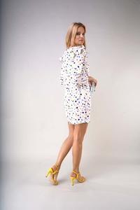 Mini Dress with Ruffles on the Shoulders - Colorful Spots