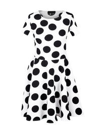 White Polka Dots Dress with Sash