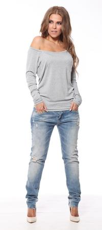 Light Grey Classic Long Sleeved Top with Pocket