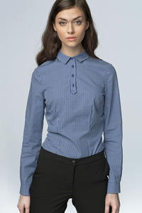 Navy Checkered Work Shirt for Women with Decorative Button Down Seam