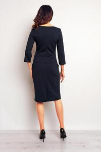 Dark Blue Elegant Pencil Midi Skirt