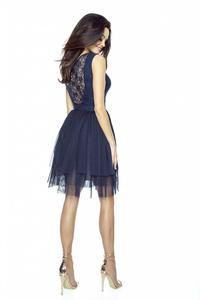 Dark Blue Prom Dress with Lace top and Tulle