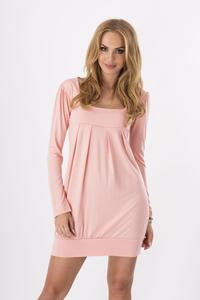 Pink Long Sleeved Square Neckline Mini Dress